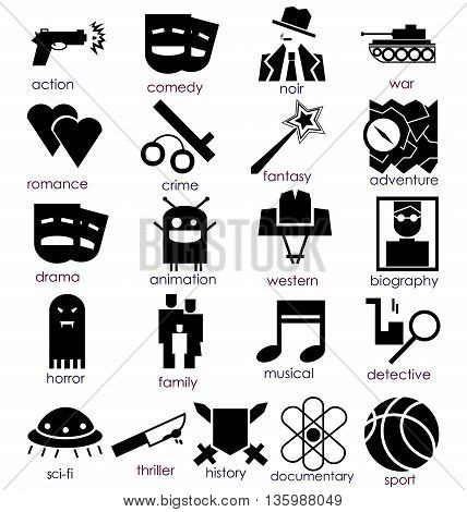 Vector flat icons set. Cinema genres theme. Black and white