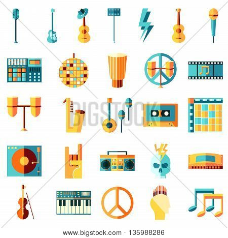 Vector flat icons set Music theme. Guitar tape drums note vinyl. Rock metal pop hip hop punk electronic latin classical jazz blues disco.