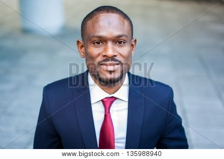African businessman outdoor in a modern setting