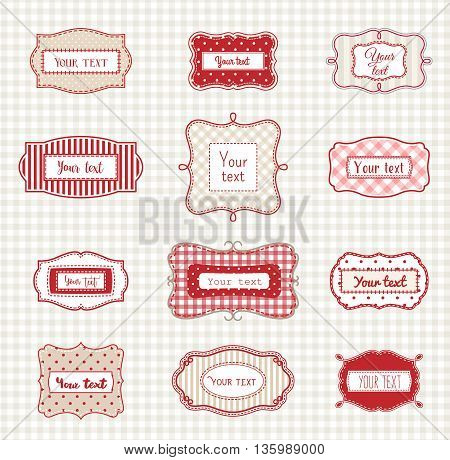 Set of romantic vintage hand drawn labels in farmhouse style, in red, white and beige colors, with polka dot and striped texture, with copy space, sample text can be easy replaced, vector illustration, eps 10 with transparency