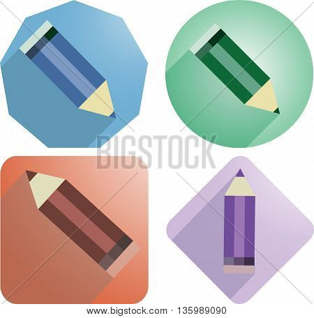 Pencils. Vector image. The four icons. Pencils with shadow on blue, green, red and purple background.