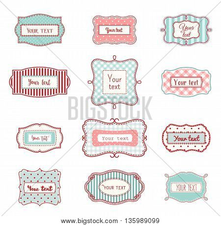 Set of romantic vintage hand drawn labels in farmhouse style, in red and light blue colors, with polka dot and striped texture, on white background, with copy space, vector illustration, eps 10 with transparency
