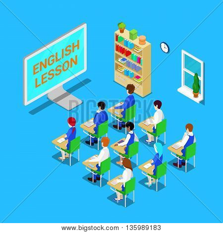 Online Education Concept. Isometric Classroom with Students on English Lesson. Vector illustration