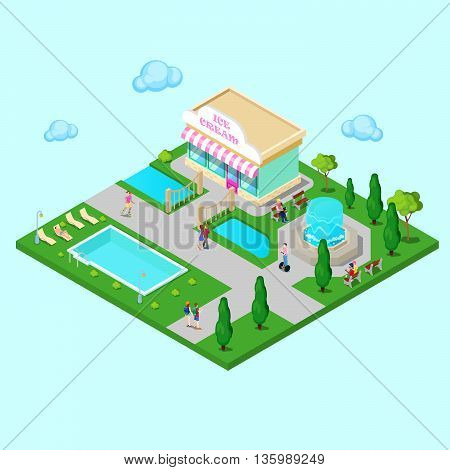 Isometric City Park with Fountain and Swimming Pool. Active People Walking in Park. Vector illustration