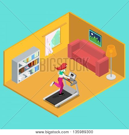 Sporty Woman Running on Treadmill at Home. Isometric People. Vector illustration