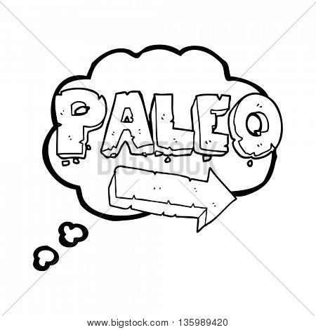 freehand drawn thought bubble cartoon paleo diet pointing arrow