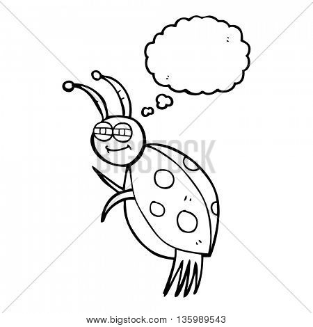 freehand drawn thought bubble cartoon ladybug