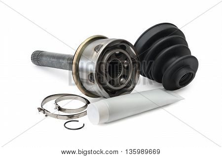 set for repair the CV joint of the car it is isolated on a white background