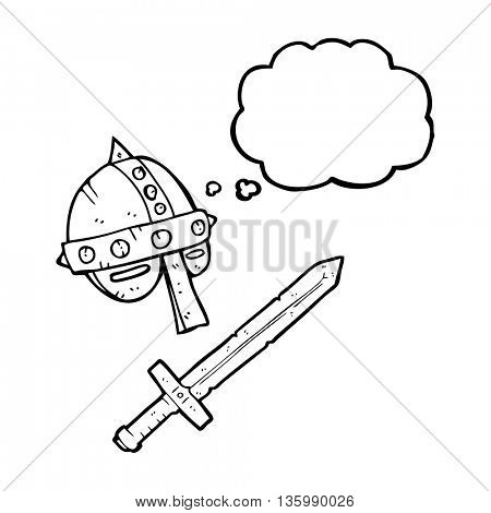 freehand drawn thought bubble cartoon medieval helmet