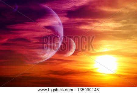 Beautiful sunset, cloud and planets. Elements of this image furnished by NASA. 3d render