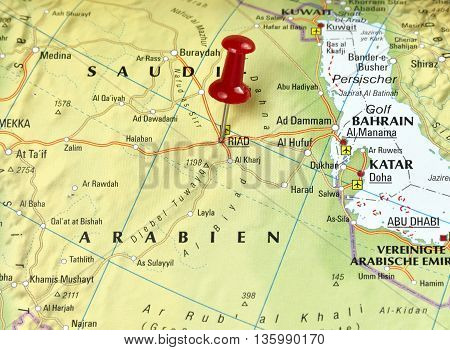 Map with pin set on Riad, Saudi Arabia.