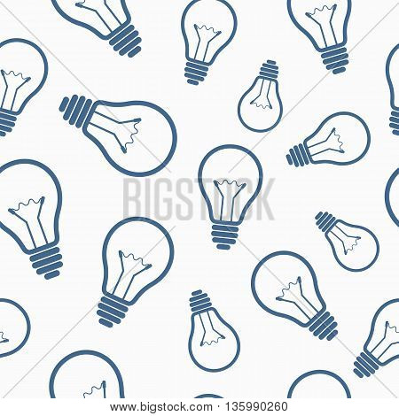 Simple light bulb seamless pattern. Vector illustration.