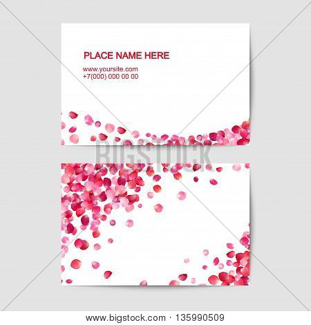 Visiting card template with pink rose petals. Vector template