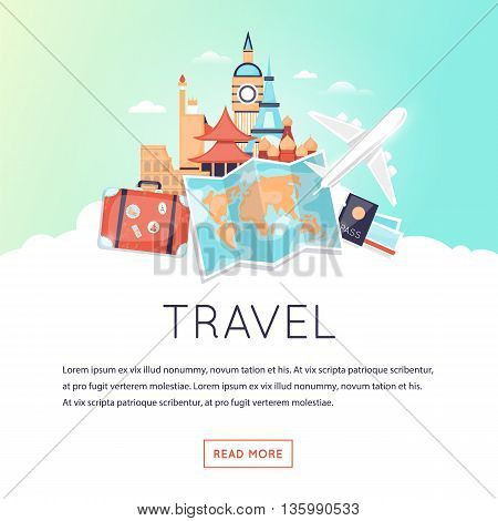 Page web design template World Travel, summer vacation, tourism and journey. Time to travel. Trip plan. Flat design vector illustration.