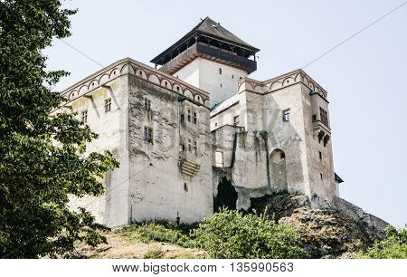 Trencin castle is the castle above the town of Trencin in western Slovakia. Central Europe. Travel destination. Cultural heritage. Beautiful place. Architectural theme.