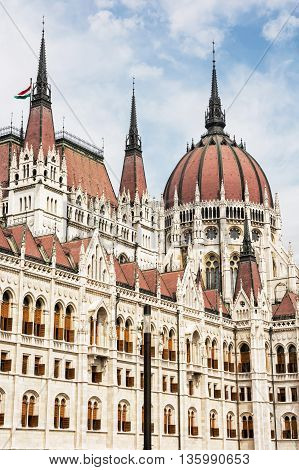 Hungarian parliament building also known as the Parliament of Budapest Hungary. House of the nation. Cultural heritage. Travel destination. Architectural theme. Detail scene. Lajos Kossuth square.