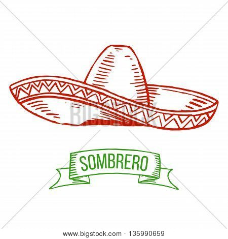 Hand drawing sombrero isolated on white background. Symbol of Mexican national costume. Vector.