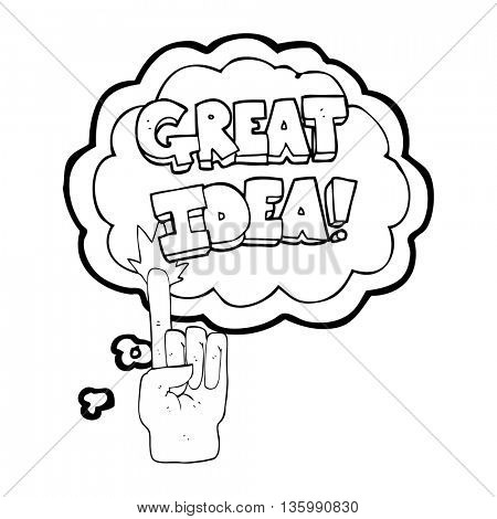 freehand drawn thought bubble cartoon great idea symbol