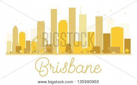 Brisbane City skyline golden silhouette. Vector illustration. Cityscape with landmarks