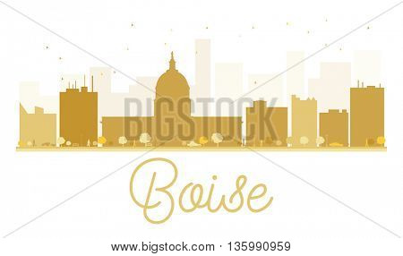 Boise City skyline golden silhouette. Vector illustration. Cityscape with landmarks