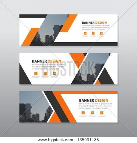 Orange black abstract corporate business banner template horizontal advertising business banner layout template flat design set clean geometric abstract cover header background template for website design