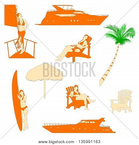 set of beach recreation realistic silhouettes with red-haired girl in bikini