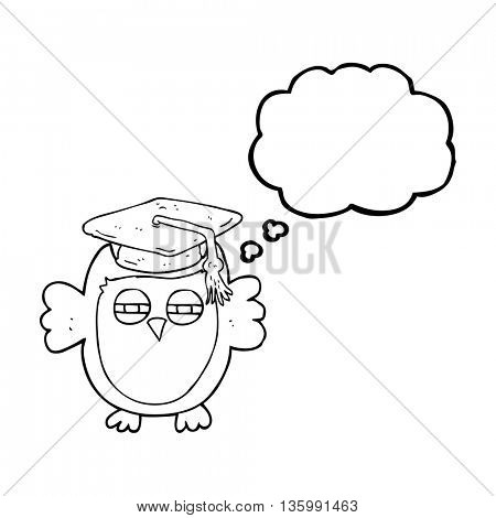 freehand drawn thought bubble cartoon clever owl