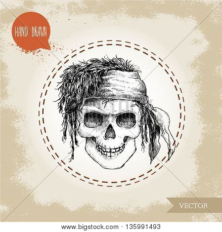 Hand drawn sketch style human skull with dreads and bandana. Pirate symbol. Jolly Roger. Vintage style illustration.