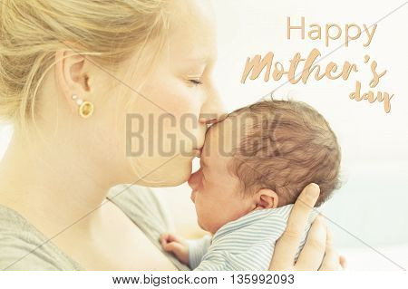 Happy Mother's Day Card. Mother and baby