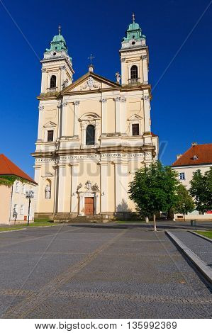 Church in the main square of Valtice town in Moravia, Czech Republic.