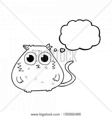 freehand drawn thought bubble cartoon cat with big pretty eyes