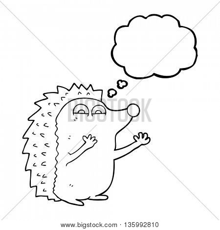 freehand drawn thought bubble cartoon cute hedgehog