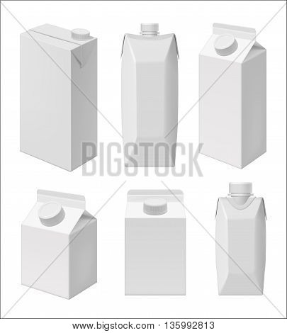 Carton milk or juice pack template. Blank packaging isolated on white background. Package template. Realistic 3d pack. Mock up layout design. Drink carton packaging vector isolated. Juice or milk packaging layout. Milk carton box. Packaging for design
