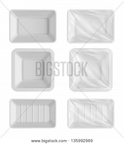Food container isolated on white background, realistic 3d package template vector illustration. Empty plastic container for food. Food packaging template. Layout of food plastic container. Plastic container for vegetables, meat and fish. Food plastic box.