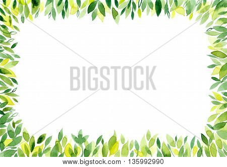Watercolor green background with leaves. Leaf frame border banner with empty space for text. Nature background with green isolated fresh leaves. Summer spring rectangle horizontal pattern.