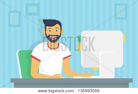 Man is working with computer. Flat fun illustration of happy student studying or working using pc at home desk. Young man reading email or coding a website at his desktop he is glad and smiling
