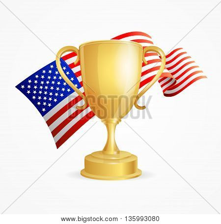 USA Winning Golden Cup Concept for Competitions Isolated on White Background. Vector illustration