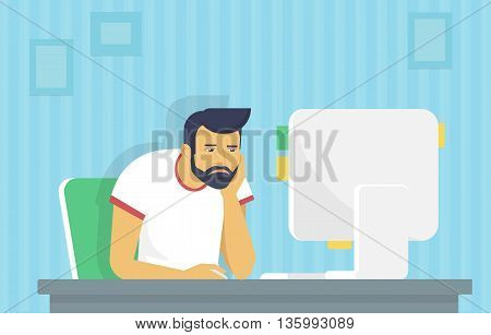 Tired and bored man is working with computer. Flat fun illustration of tired student studying or working using pc at home desk. Young man reading email or coding a website at his desktop he sleeping
