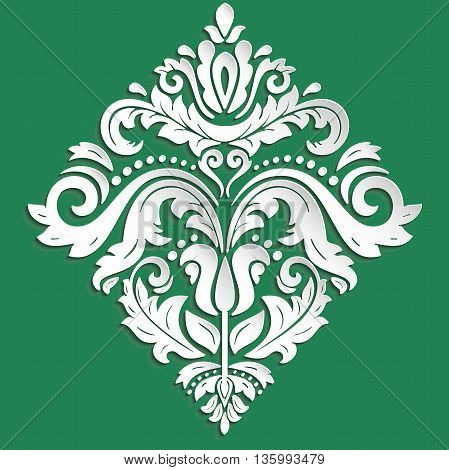 Floral vector ornament. Seamless abstract classic pattern with flowers. Green and white pattern