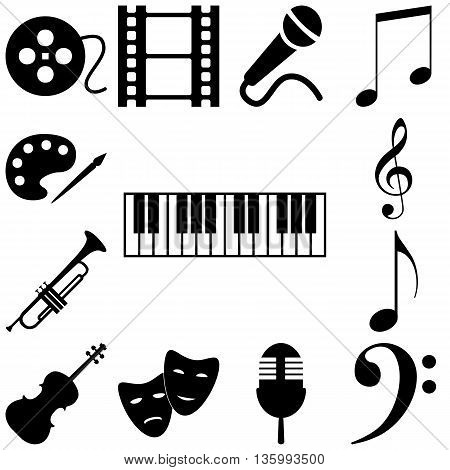 Music art signs set. Vector icon illustration