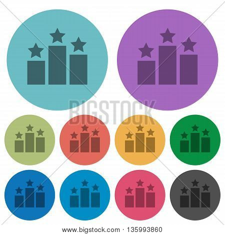 Color ranking flat icon set on round background.