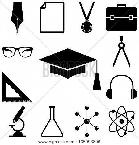 Science, education signs set. Flat style Vector illustration