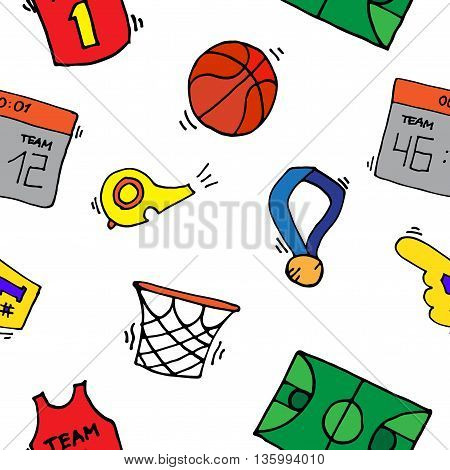 Basketball Elements Pattern. Basketball game icon, element for basketball play, basketball illustration.