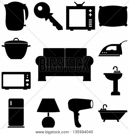 Home pieces signs set. Flat style Vector illustration