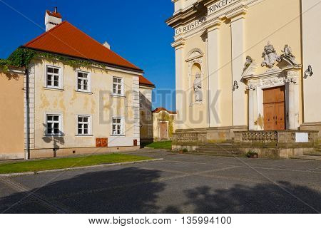 Architecture in the main square of Valtice town in Moravia, Czech Republic.