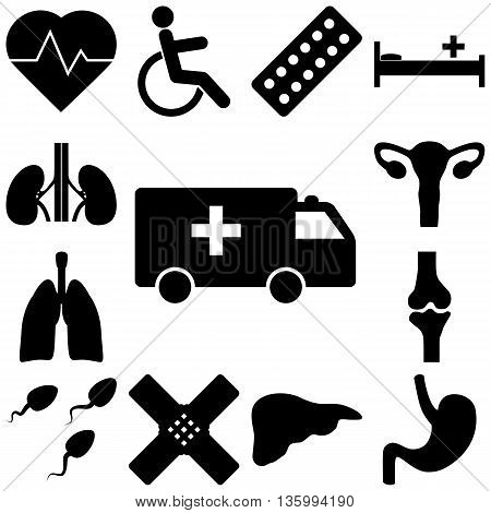 Medical signs set. Flat style vector illustration
