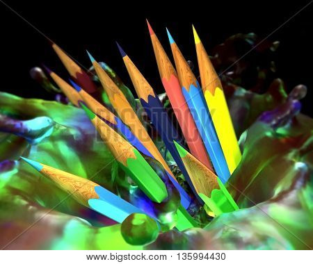 Large group of colored pencils. Colored pencils tightly pressed against each other in splash paint. 3d render.