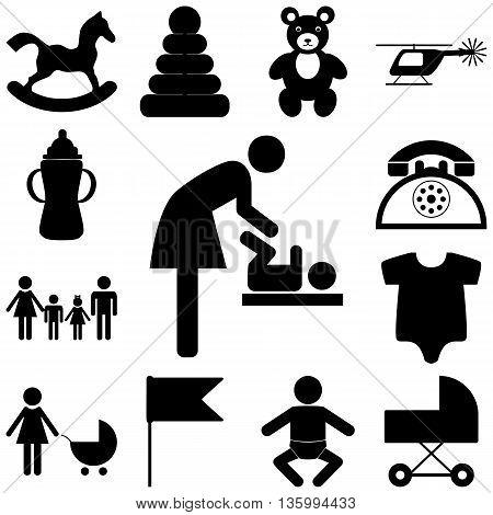 Child care modern vector icons set. Flat illustration