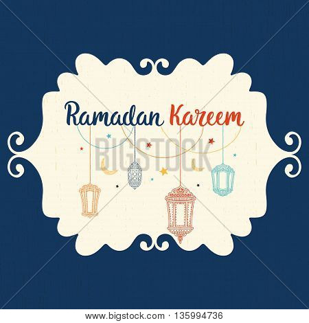 Ramadan Kareem theme. Vector card with flashlights, moon and lettering. Hand drawn illustration with lamps and crescent.