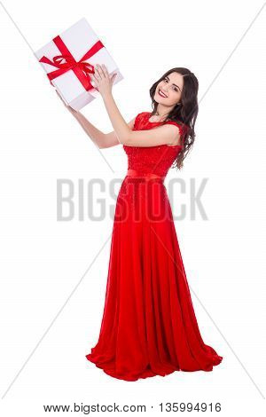 Full Length Portrait Of Young Beautiful Woman In Red Dress With Gift Box Isolated On White